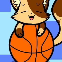 basketball blue cartoon cat myart