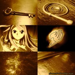 aesthetic anime lucyheartfilia fairytail gold