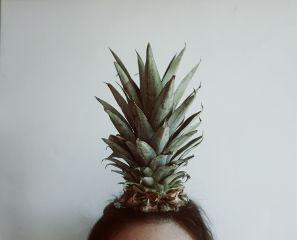 girl brunette fruit vegan pineapple