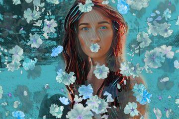 freetoedit floatingflowers picsartclipart bandlandsmagiceffect teal